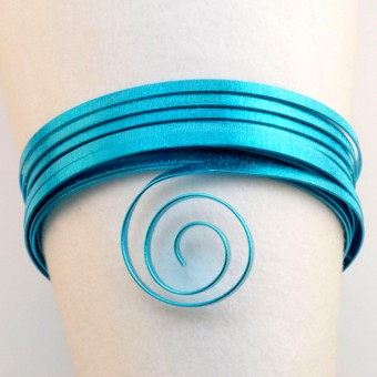 Plat embossed 5mm x 1mm - 5mtr. Turquoise